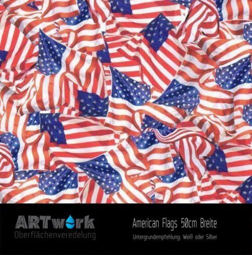ARTwork, Wassertransferdruck, Folie American Flags, 50cm Breite