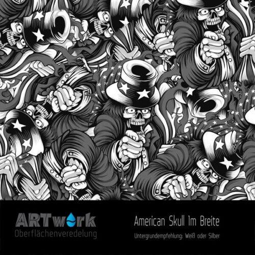 ARTwork, Wassertransferdruck, Folie American Skull, 1m Breite