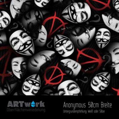 ARTwork, Wassertransferdruck, Folie Anonymous, guy fawks masks, 50cm Breite