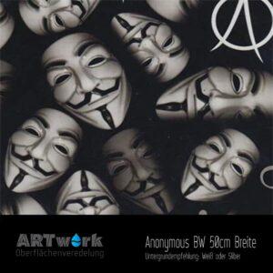 ARTwork, Wassertransferdruck, Folie Anonymous BW, guy fawkes mask, 50cm Breite