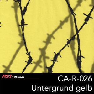 MST-Design, Wassertransferdruck, Stacheldraht, Folie CA-R-026, Untergrund gelb