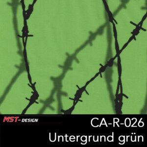 MST-Design, Wassertransferdruck, Stacheldraht, Folie CA-R-026, Untergrund grün