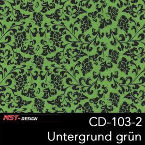 MST-Design, Wassertransferdruck, Folie CD-103-2, Blumen Style, Untergrund grün