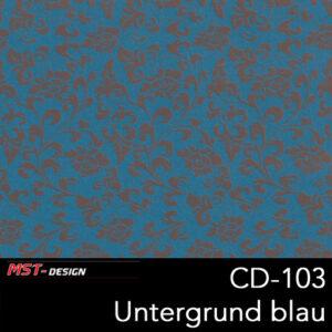 MST-Design, Wassertransferdruck, Folie CD-103, Blumen Style, Untergrund blau