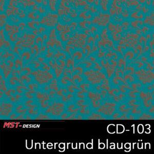 MST-Design, Wassertransferdruck, Folie CD-103, Blumen Style, Untergrund blaugrün