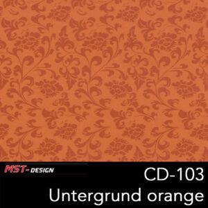 MST-Design, Wassertransferdruck, Folie CD-103, Blumen Style, Untergrund orange