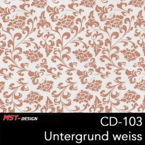 MST-Design, Wassertransferdruck, Folie CD-103, Blumen Style, Untergrund weiß