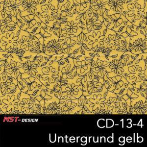 MST-Design, Wassertransferdruck, Folie CD-13-4, Blumen Style, Untergrund gelb