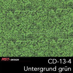 MST-Design, Wassertransferdruck, Folie CD-13-4, Blumen Style, Untergrund grün