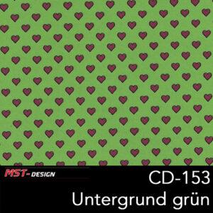 MST-Design, Wassertransferdruck, kleine Rosa Herzen, Folie CD-153, Untergrund grün