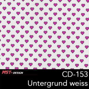 MST-Design, Wassertransferdruck, kleine Rosa Herzen, Folie CD-153, Untergrund weiß