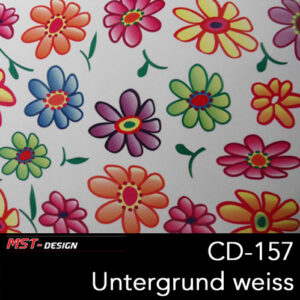 MST-Design, Wassertransferdruck, Folie CD-157, Blumen Style, Untergrund Weiß