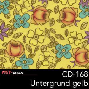 MST-Design, Wassertransferdruck, Folie CD-168, Blumen Style, Untergrund gelb