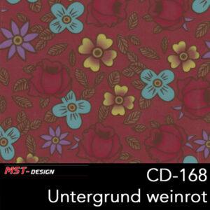 MST-Design, Wassertransferdruck, Folie CD-168, Blumen Style, Untergrund weinrot