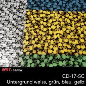 MST-Design, Wassertransferdruck, Folie CD-17-SC, Untergrund weiß, grün, blau, gelb