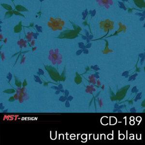 MST-Design, Wassertransferdruck, Folie CD-189, Blumen Style, Untergrund blau