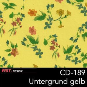 MST-Design, Wassertransferdruck, Folie CD-189, Blumen Style, Untergrund gelb