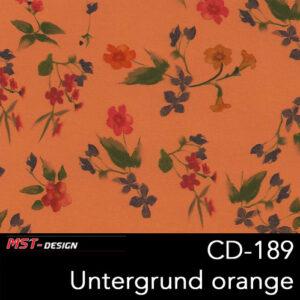 MST-Design, Wassertransferdruck, Folie CD-189, Blumen Style, Untergrund orange