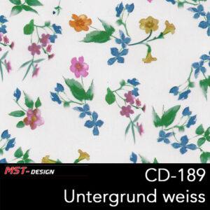 MST-Design, Wassertransferdruck, Folie CD-189, Blumen Style, Untergrund Weiß