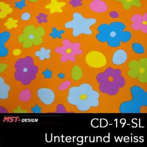 MST-Design, Wassertransferdruck, Folie CD-19-SL, Blumen Style, Untergrund weiß