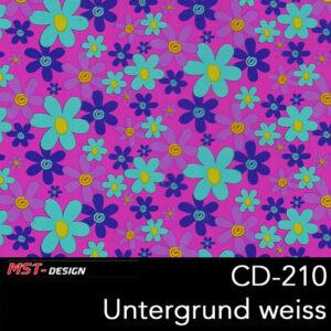 MST-Design, Wassertransferdruck, Folie CD-210, Blumen Style, Untergrund Weiß
