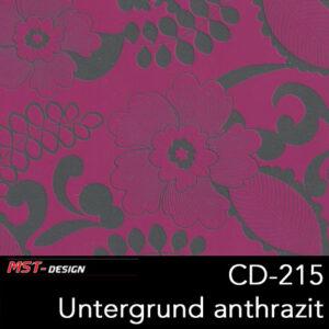 MST-Design, Wassertransferdruck, Folie CD-215, Blumen Style, Untergrund Anthrazit