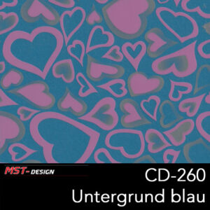 MST-Design, Wassertransferdruck, Rosa Herzen, Folie CD-260, Untergrund blau