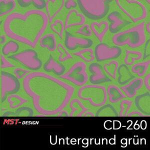 MST-Design, Wassertransferdruck, Rosa Herzen, Folie CD-260, Untergrund grün