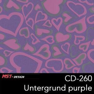 MST-Design, Wassertransferdruck, Rosa Herzen, Folie CD-260, Untergrund purple