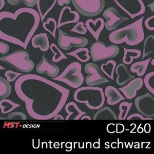 MST-Design, Wassertransferdruck, Rosa Herzen, Folie CD-260, Untergrund schwarz