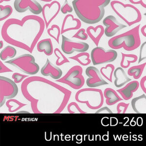 MST-Design, Wassertransferdruck, Rosa Herzen, Folie CD-260, Untergrund weiß
