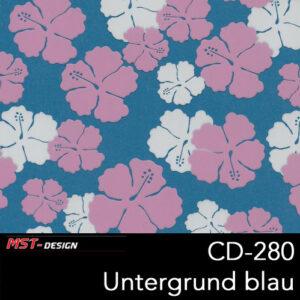MST-Design, Wassertransferdruck, Folie CD-280, Blumen Style, Untergrund blau
