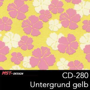 MST-Design, Wassertransferdruck, Folie CD-280, Blumen Style, Untergrund gelb
