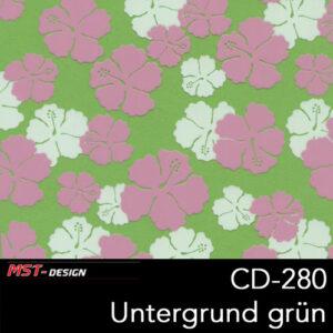 MST-Design, Wassertransferdruck, Folie CD-280, Blumen Style, Untergrund grün