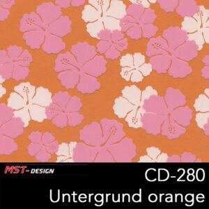 MST-Design, Wassertransferdruck, Folie CD-280, Blumen Style, Untergrund orange