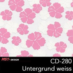 MST-Design, Wassertransferdruck, Folie CD-280, Blumen Style, Untergrund Weiß
