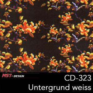 MST-Design, Wassertransferdruck, Folie CD-323, Blumen Style, Untergrund Weiß