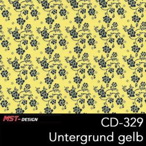MST-Design, Wassertransferdruck, Folie CD-329 Blumen Style, Untergrund gelb