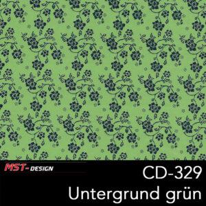 MST-Design, Wassertransferdruck, Folie CD-329 Blumen Style, Untergrund grün