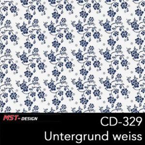 MST-Design, Wassertransferdruck, Folie CD-329, Blumen Style, Untergrund Weiß