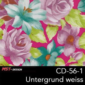 MST-Design, Wassertransferdruck, Folie CD-56-1, Blumen Style, Untergrund weiß
