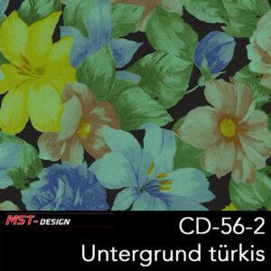 MST-Design, Wassertransferdruck, Folie CD-56-2, Blumen Style, Untergrund türkis