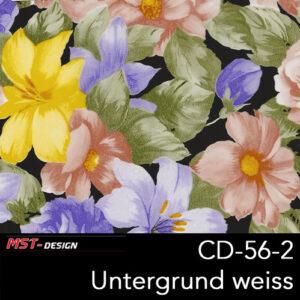 MST-Design, Wassertransferdruck, Folie CD-56-2, Blumen Style, Untergrund weiß