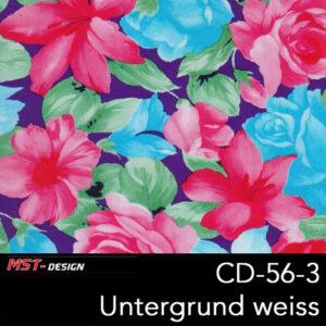 MST-Design, Wassertransferdruck, Folie CD-56-3, Blumen Style, Untergrund weiß