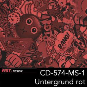 MST-Design, Wassertransferdruck, Folie CD-574-MS-1, Untergrund rot
