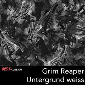MST-Design, Wassertransferdruck, Folie Grim Reaper, Untergrund weiß