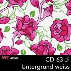 MST-Design, Wassertransferdruck, Folie CD-63-JI, Blumen Style, Untergrund weiß