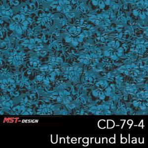 MST-Design, Wassertransferdruck, Folie CD-79-4, Blumen Style, Untergrund blau