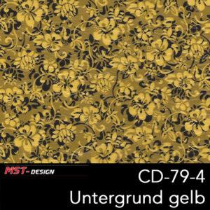 MST-Design, Wassertransferdruck, Folie CD-79-4, Blumen Style, Untergrund gelb