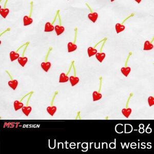 MST-Design, Wassertransferdruck, Kirschen, Folie CD-86, Untergrund weiß